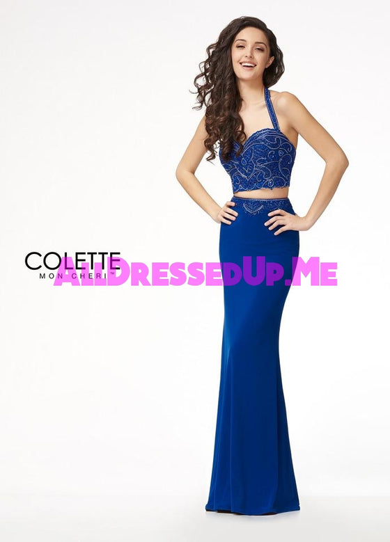 Colette - CL18219 - All Dressed Up, Prom Dress - - Dresses Two Piece Cut Out Sweetheart Halter Low Back High Neck Print Beaded Chiffon Jersey Fitted Sexy Satin Lace Jeweled Sparkle Shimmer Sleeveless Stunning Gorgeous Modest See Through Transparent Glitter Special Occasions Event Chattanooga Hixson Shops Boutiques Tennessee TN Georgia GA MSRP Lowest Prices Sale Discount