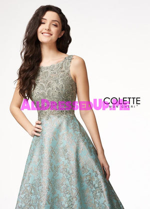 Colette - CL18312 - All Dressed Up, Prom Dress - - Dresses Two Piece Cut Out Sweetheart Halter Low Back High Neck Print Beaded Chiffon Jersey Fitted Sexy Satin Lace Jeweled Sparkle Shimmer Sleeveless Stunning Gorgeous Modest See Through Transparent Glitter Special Occasions Event Chattanooga Hixson Shops Boutiques Tennessee TN Georgia GA MSRP Lowest Prices Sale Discount