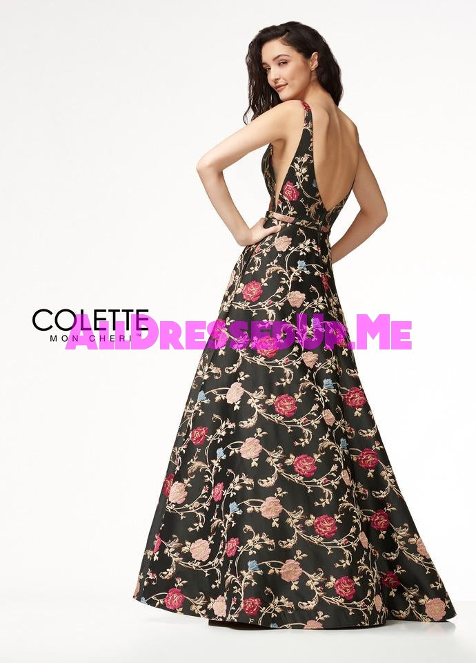 Colette - CL18317 - All Dressed Up, Prom Dress - - Dresses Two Piece Cut Out Sweetheart Halter Low Back High Neck Print Beaded Chiffon Jersey Fitted Sexy Satin Lace Jeweled Sparkle Shimmer Sleeveless Stunning Gorgeous Modest See Through Transparent Glitter Special Occasions Event Chattanooga Hixson Shops Boutiques Tennessee TN Georgia GA MSRP Lowest Prices Sale Discount