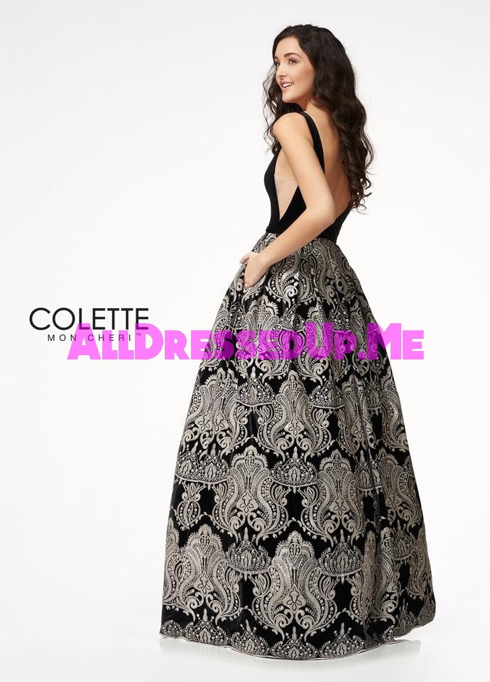 Colette - CL21701 - All Dressed Up, Prom Dress - - Dresses Two Piece Cut Out Sweetheart Halter Low Back High Neck Print Beaded Chiffon Jersey Fitted Sexy Satin Lace Jeweled Sparkle Shimmer Sleeveless Stunning Gorgeous Modest See Through Transparent Glitter Special Occasions Event Chattanooga Hixson Shops Boutiques Tennessee TN Georgia GA MSRP Lowest Prices Sale Discount