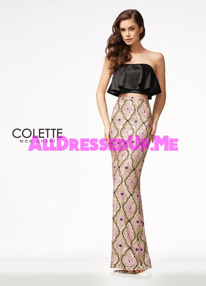 Colette - CL21713 - All Dressed Up, Prom Dress - - Dresses Two Piece Cut Out Sweetheart Halter Low Back High Neck Print Beaded Chiffon Jersey Fitted Sexy Satin Lace Jeweled Sparkle Shimmer Sleeveless Stunning Gorgeous Modest See Through Transparent Glitter Special Occasions Event Chattanooga Hixson Shops Boutiques Tennessee TN Georgia GA MSRP Lowest Prices Sale Discount