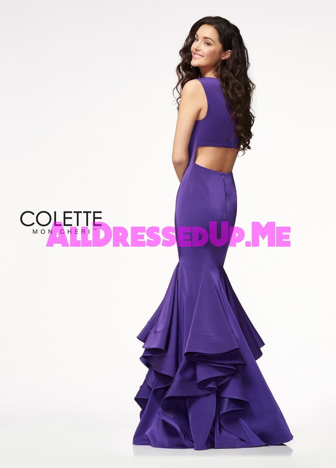 Colette - CL21718 - All Dressed Up, Prom Dress - - Dresses Two Piece Cut Out Sweetheart Halter Low Back High Neck Print Beaded Chiffon Jersey Fitted Sexy Satin Lace Jeweled Sparkle Shimmer Sleeveless Stunning Gorgeous Modest See Through Transparent Glitter Special Occasions Event Chattanooga Hixson Shops Boutiques Tennessee TN Georgia GA MSRP Lowest Prices Sale Discount