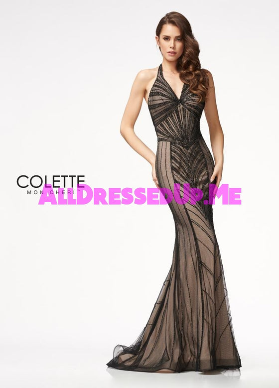 Colette - CL21729 - All Dressed Up, Prom Dress - - Dresses Two Piece Cut Out Sweetheart Halter Low Back High Neck Print Beaded Chiffon Jersey Fitted Sexy Satin Lace Jeweled Sparkle Shimmer Sleeveless Stunning Gorgeous Modest See Through Transparent Glitter Special Occasions Event Chattanooga Hixson Shops Boutiques Tennessee TN Georgia GA MSRP Lowest Prices Sale Discount