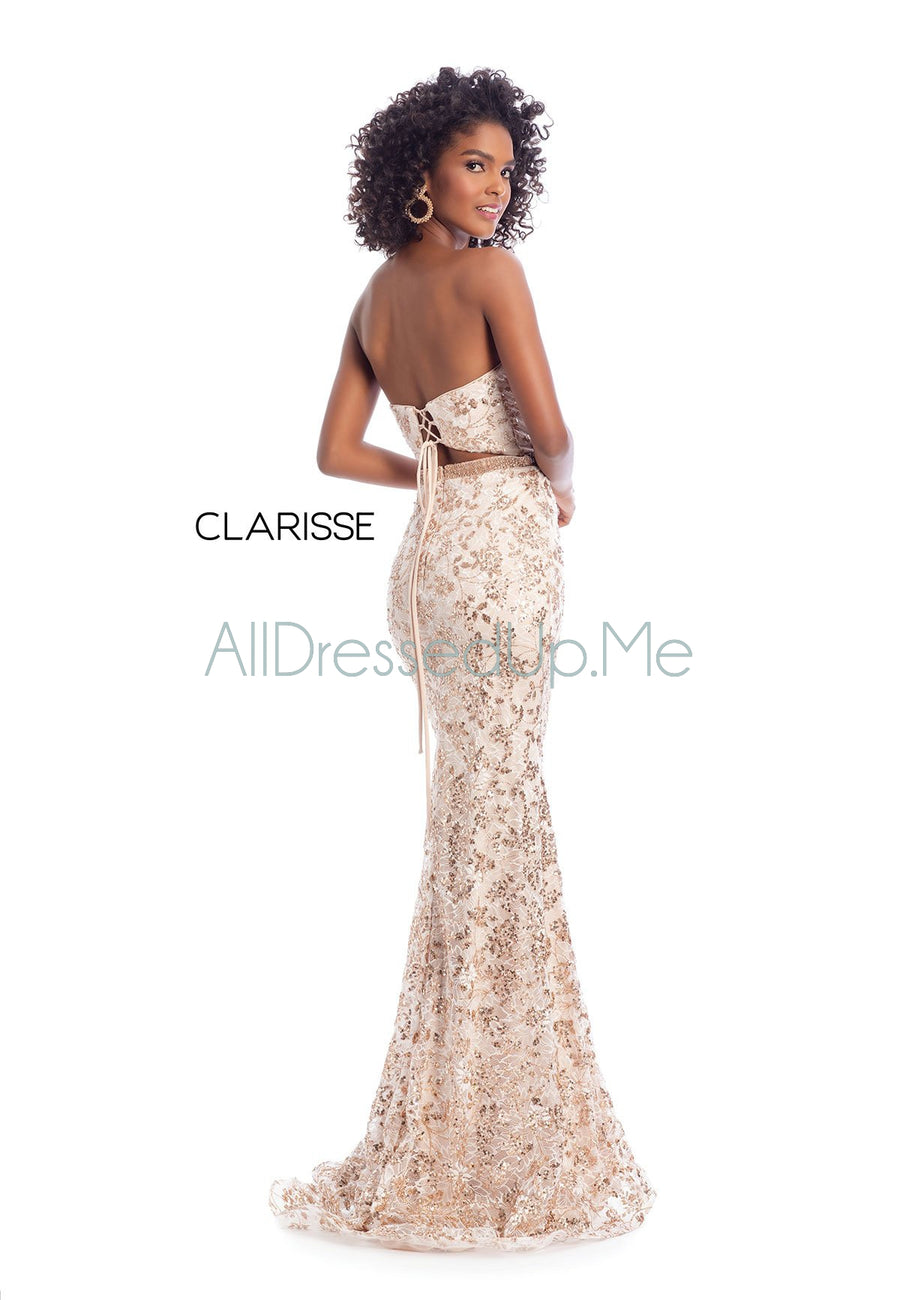 Clarisse - 8017 - All Dressed Up, Prom/Party Dress - - Dresses Two Piece Cut Out Sweetheart Halter Low Back High Neck Print Beaded Chiffon Jersey Fitted Sexy Satin Lace Jeweled Sparkle Shimmer Sleeveless Stunning Gorgeous Modest See Through Transparent Glitter Special Occasions Event Chattanooga Hixson Shops Boutiques Tennessee TN Georgia GA MSRP Lowest Prices Sale Discount
