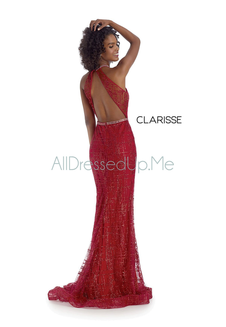Clarisse - 8018 - All Dressed Up, Prom/Party Dress - - Dresses Two Piece Cut Out Sweetheart Halter Low Back High Neck Print Beaded Chiffon Jersey Fitted Sexy Satin Lace Jeweled Sparkle Shimmer Sleeveless Stunning Gorgeous Modest See Through Transparent Glitter Special Occasions Event Chattanooga Hixson Shops Boutiques Tennessee TN Georgia GA MSRP Lowest Prices Sale Discount