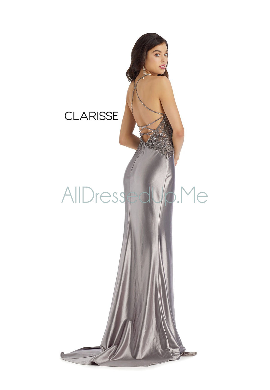 Clarisse - 8061 - All Dressed Up, Prom/Party Dress - - Dresses Two Piece Cut Out Sweetheart Halter Low Back High Neck Print Beaded Chiffon Jersey Fitted Sexy Satin Lace Jeweled Sparkle Shimmer Sleeveless Stunning Gorgeous Modest See Through Transparent Glitter Special Occasions Event Chattanooga Hixson Shops Boutiques Tennessee TN Georgia GA MSRP Lowest Prices Sale Discount