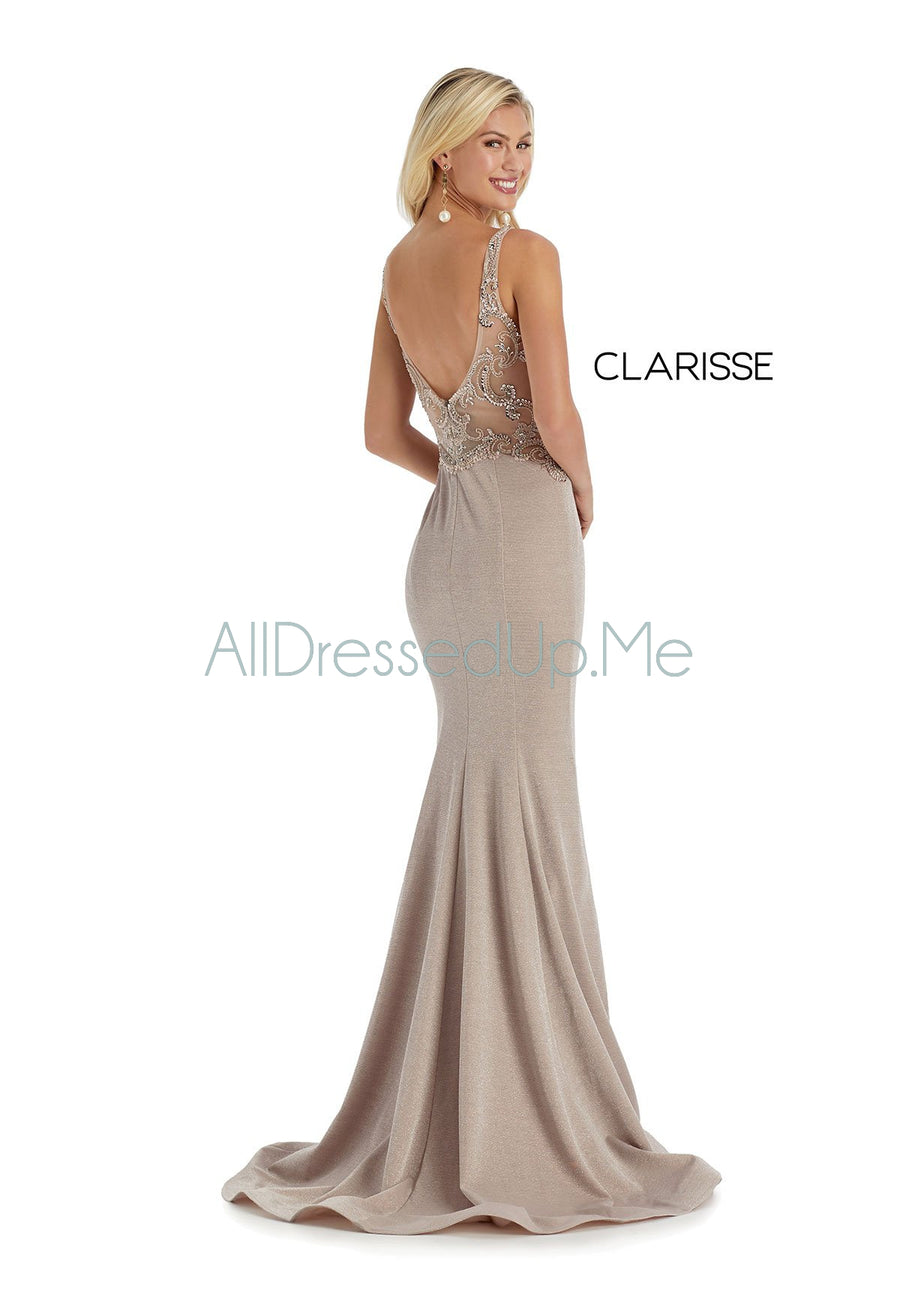 Clarisse - 8075 - All Dressed Up, Prom/Party Dress - - Dresses Two Piece Cut Out Sweetheart Halter Low Back High Neck Print Beaded Chiffon Jersey Fitted Sexy Satin Lace Jeweled Sparkle Shimmer Sleeveless Stunning Gorgeous Modest See Through Transparent Glitter Special Occasions Event Chattanooga Hixson Shops Boutiques Tennessee TN Georgia GA MSRP Lowest Prices Sale Discount
