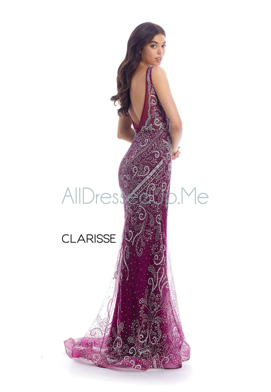 Clarisse - 8127 - All Dressed Up, Prom/Party Dress - - Dresses Two Piece Cut Out Sweetheart Halter Low Back High Neck Print Beaded Chiffon Jersey Fitted Sexy Satin Lace Jeweled Sparkle Shimmer Sleeveless Stunning Gorgeous Modest See Through Transparent Glitter Special Occasions Event Chattanooga Hixson Shops Boutiques Tennessee TN Georgia GA MSRP Lowest Prices Sale Discount