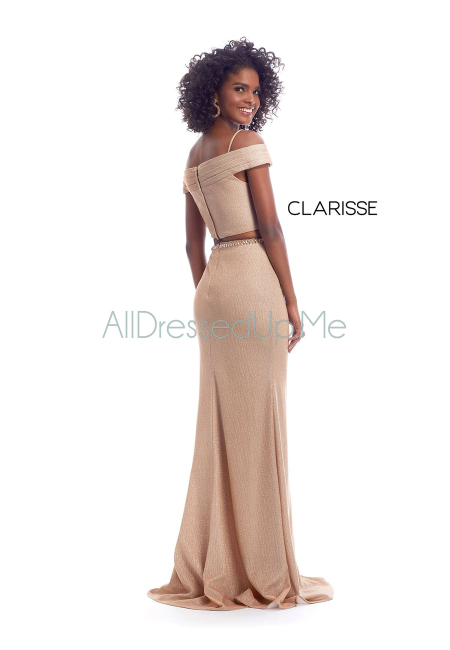Clarisse - 8148 - All Dressed Up, Prom/Party Dress - - Dresses Two Piece Cut Out Sweetheart Halter Low Back High Neck Print Beaded Chiffon Jersey Fitted Sexy Satin Lace Jeweled Sparkle Shimmer Sleeveless Stunning Gorgeous Modest See Through Transparent Glitter Special Occasions Event Chattanooga Hixson Shops Boutiques Tennessee TN Georgia GA MSRP Lowest Prices Sale Discount