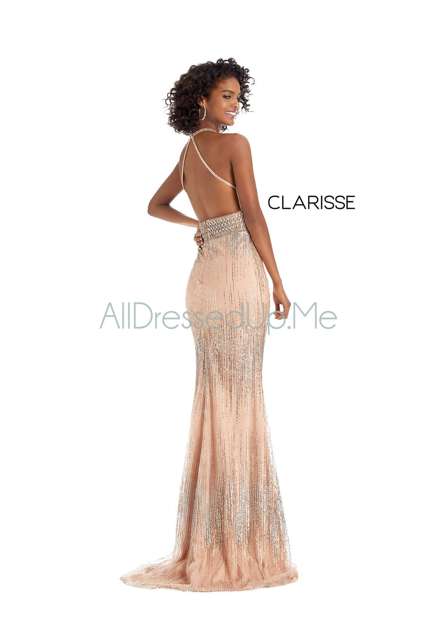 Clarisse - 8223 - All Dressed Up, Prom/Party Dress - - Dresses Two Piece Cut Out Sweetheart Halter Low Back High Neck Print Beaded Chiffon Jersey Fitted Sexy Satin Lace Jeweled Sparkle Shimmer Sleeveless Stunning Gorgeous Modest See Through Transparent Glitter Special Occasions Event Chattanooga Hixson Shops Boutiques Tennessee TN Georgia GA MSRP Lowest Prices Sale Discount
