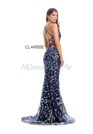 Clarisse - 8240 - All Dressed Up, Prom/Party Dress - - Dresses Two Piece Cut Out Sweetheart Halter Low Back High Neck Print Beaded Chiffon Jersey Fitted Sexy Satin Lace Jeweled Sparkle Shimmer Sleeveless Stunning Gorgeous Modest See Through Transparent Glitter Special Occasions Event Chattanooga Hixson Shops Boutiques Tennessee TN Georgia GA MSRP Lowest Prices Sale Discount