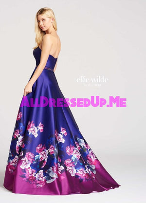 Ellie Wilde - EW118014 - All Dressed Up, Prom Dress - - Dresses Two Piece Cut Out Sweetheart Halter Low Back High Neck Print Beaded Chiffon Jersey Fitted Sexy Satin Lace Jeweled Sparkle Shimmer Sleeveless Stunning Gorgeous Modest See Through Transparent Glitter Special Occasions Event Chattanooga Hixson Shops Boutiques Tennessee TN Georgia GA MSRP Lowest Prices Sale Discount