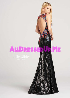 Ellie Wilde - EW118026 - All Dressed Up, Prom Dress - - Dresses Two Piece Cut Out Sweetheart Halter Low Back High Neck Print Beaded Chiffon Jersey Fitted Sexy Satin Lace Jeweled Sparkle Shimmer Sleeveless Stunning Gorgeous Modest See Through Transparent Glitter Special Occasions Event Chattanooga Hixson Shops Boutiques Tennessee TN Georgia GA MSRP Lowest Prices Sale Discount