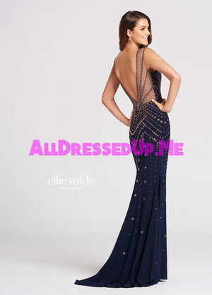 Ellie Wilde - EW118049 - All Dressed Up, Prom Dress - - Dresses Two Piece Cut Out Sweetheart Halter Low Back High Neck Print Beaded Chiffon Jersey Fitted Sexy Satin Lace Jeweled Sparkle Shimmer Sleeveless Stunning Gorgeous Modest See Through Transparent Glitter Special Occasions Event Chattanooga Hixson Shops Boutiques Tennessee TN Georgia GA MSRP Lowest Prices Sale Discount