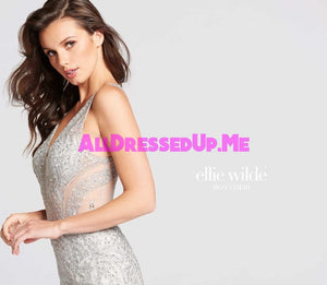 Ellie Wilde - EW118054 - All Dressed Up, Prom Dress - - Dresses Two Piece Cut Out Sweetheart Halter Low Back High Neck Print Beaded Chiffon Jersey Fitted Sexy Satin Lace Jeweled Sparkle Shimmer Sleeveless Stunning Gorgeous Modest See Through Transparent Glitter Special Occasions Event Chattanooga Hixson Shops Boutiques Tennessee TN Georgia GA MSRP Lowest Prices Sale Discount