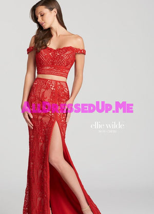 Ellie Wilde - EW118059 - All Dressed Up, Prom Dress - - Dresses Two Piece Cut Out Sweetheart Halter Low Back High Neck Print Beaded Chiffon Jersey Fitted Sexy Satin Lace Jeweled Sparkle Shimmer Sleeveless Stunning Gorgeous Modest See Through Transparent Glitter Special Occasions Event Chattanooga Hixson Shops Boutiques Tennessee TN Georgia GA MSRP Lowest Prices Sale Discount