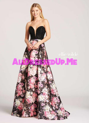 Ellie Wilde - EW118080 - All Dressed Up, Prom Dress - - Dresses Two Piece Cut Out Sweetheart Halter Low Back High Neck Print Beaded Chiffon Jersey Fitted Sexy Satin Lace Jeweled Sparkle Shimmer Sleeveless Stunning Gorgeous Modest See Through Transparent Glitter Special Occasions Event Chattanooga Hixson Shops Boutiques Tennessee TN Georgia GA MSRP Lowest Prices Sale Discount