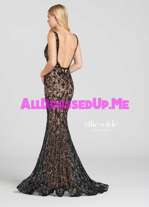Ellie Wilde - EW118087 - All Dressed Up, Prom Dress - - Dresses Two Piece Cut Out Sweetheart Halter Low Back High Neck Print Beaded Chiffon Jersey Fitted Sexy Satin Lace Jeweled Sparkle Shimmer Sleeveless Stunning Gorgeous Modest See Through Transparent Glitter Special Occasions Event Chattanooga Hixson Shops Boutiques Tennessee TN Georgia GA MSRP Lowest Prices Sale Discount