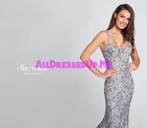 Ellie Wilde - EW21735 - All Dressed Up, Prom Dress - - Dresses Two Piece Cut Out Sweetheart Halter Low Back High Neck Print Beaded Chiffon Jersey Fitted Sexy Satin Lace Jeweled Sparkle Shimmer Sleeveless Stunning Gorgeous Modest See Through Transparent Glitter Special Occasions Event Chattanooga Hixson Shops Boutiques Tennessee TN Georgia GA MSRP Lowest Prices Sale Discount