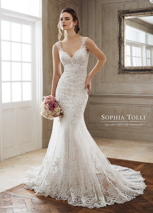 Last Dress In Stock; Size: 8, Color: Ivory/Sand - Sophia Tolli - Iona-Marie - Y11896B - All Dressed Up - Bridal Prom Tuxedo - 8 - Wedding Gowns Dresses Chattanooga Hixson Shops Boutiques Tennessee TN Georgia GA MSRP Lowest Prices Sale Discount
