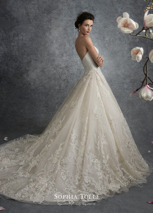 Last Dress In Stock; Size: 14, Color: Ivory/Nude - Sophia Tolli - Y21753 - Virgo - All Dressed Up - Bridal Prom Tuxedo - 14 - Wedding Gowns Dresses Chattanooga Hixson Shops Boutiques Tennessee TN Georgia GA MSRP Lowest Prices Sale Discount