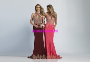 Dave & Johnny - 2325 - All Dressed Up, Prom/Party - - Dresses Two Piece Cut Out Sweetheart Halter Low Back High Neck Print Beaded Chiffon Jersey Fitted Sexy Satin Lace Jeweled Sparkle Shimmer Sleeveless Stunning Gorgeous Modest See Through Transparent Glitter Special Occasions Event Chattanooga Hixson Shops Boutiques Tennessee TN Georgia GA MSRP Lowest Prices Sale Discount