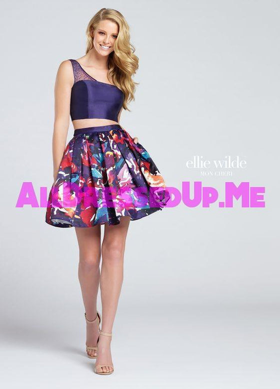 Ellie Wilde - EW117006 - All Dressed Up, Prom Dress - - Dresses Two Piece Cut Out Sweetheart Halter Low Back High Neck Print Beaded Chiffon Jersey Fitted Sexy Satin Lace Jeweled Sparkle Shimmer Sleeveless Stunning Gorgeous Modest See Through Transparent Glitter Special Occasions Event Chattanooga Hixson Shops Boutiques Tennessee TN Georgia GA MSRP Lowest Prices Sale Discount