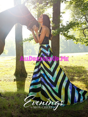 Evenings - MCE11601 - All Dressed Up, Prom/Party - - Dresses Two Piece Cut Out Sweetheart Halter Low Back High Neck Print Beaded Chiffon Jersey Fitted Sexy Satin Lace Jeweled Sparkle Shimmer Sleeveless Stunning Gorgeous Modest See Through Transparent Glitter Special Occasions Event Chattanooga Hixson Shops Boutiques Tennessee TN Georgia GA MSRP Lowest Prices Sale Discount