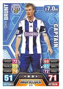 Match Attax Extra 2013/2014 Chris Brunt West Brom Club Captain 13/14