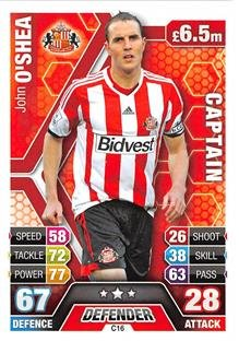 Match Attax Extra 2013/2014 John O'Shea Sunderland Club Captain 13/14