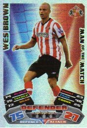 Match Attax 2011/12 Man of the Man SUNDERLAND 403 Wes Brown