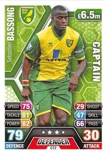 Match Attax Extra 2013/2014 Sebastien Bassong Norwich City Club Captain 13/14