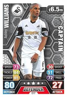 Match Attax Extra 2013/2014 Ashley Williams Swansea City Club Captain 13/14