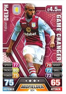 Match Attax Extra 2013/2014 Fabian Delph Game Changer 13/14