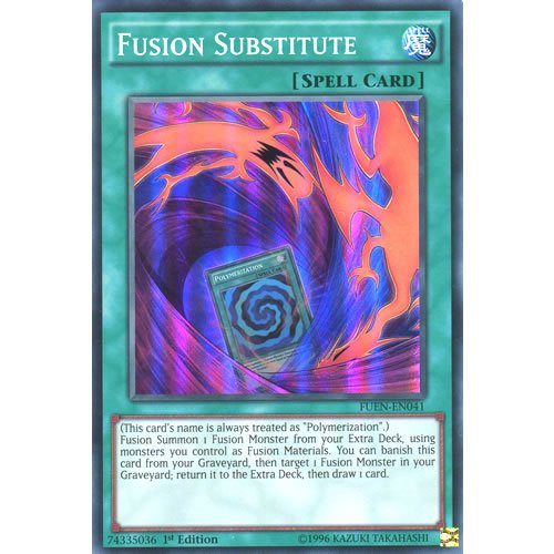 YuGiOh : FUEN-EN041 1st Ed Fusion Substitute Super Rare Card - ( Yu-Gi-Oh! Single Card )