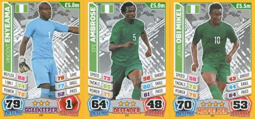 Match Attax England World Cup 2014 Nigeria Base Card Team Set (3 Cards)