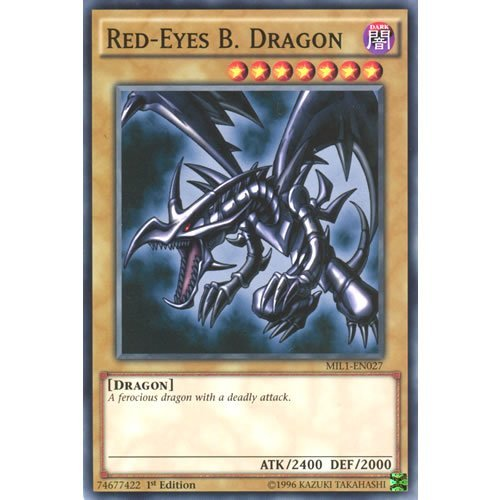 YuGiOh : MIL1-EN027 1st Ed Red-Eyes B. Dragon Common Card - ( Millennium Pack )