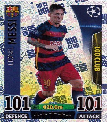 Match Attax Champions League - #498 Lionel Messi 100 Club Card