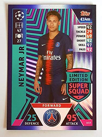 MATCH ATTAX CHAMPIONS LEAGUE 18/19 NEYMAR JR LIMITED EDITION TRADING CARD - PARIS ST- GERMAIN 18/19