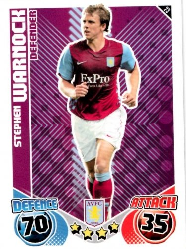 Stephen WARNOCK Aston Villa Individual Match Attax 2010/11 Trading Card