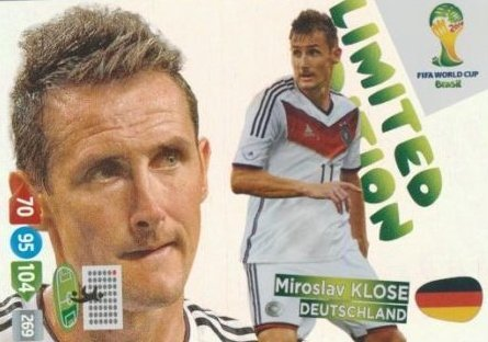 FIFA World Cup 2014 Brazil Adrenalyn XL Miroslav Klose Limited Edition