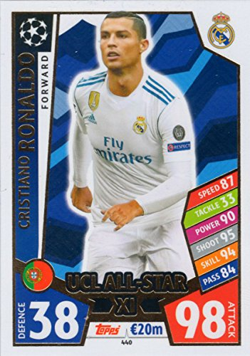 MATCH ATTAX CHAMPIONS LEAGUE 17/18 CRISTIANO RONALDO UCL ALL STAR XI TRADING CARD - REAL MADRID 17/18