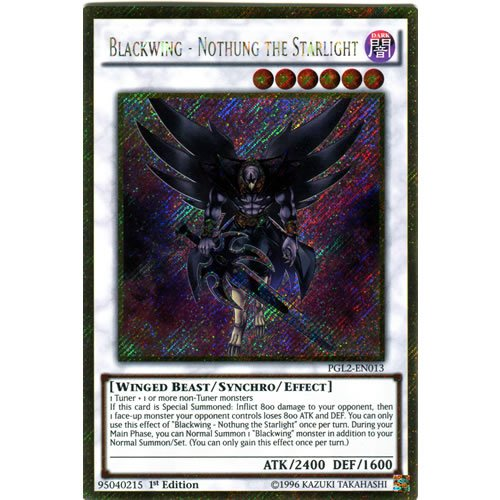 YuGiOh : PGL2-EN013 Unlimited Ed Blackwing - Nothung the Starlight Gold Rare Card - ( Premium Gold 2 Yu-Gi-Oh! Single Card )