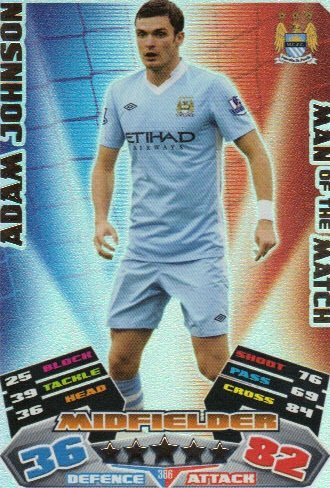 Match Attax 2011/12 Man of the Man MAN CITY 386 Adam Johnson