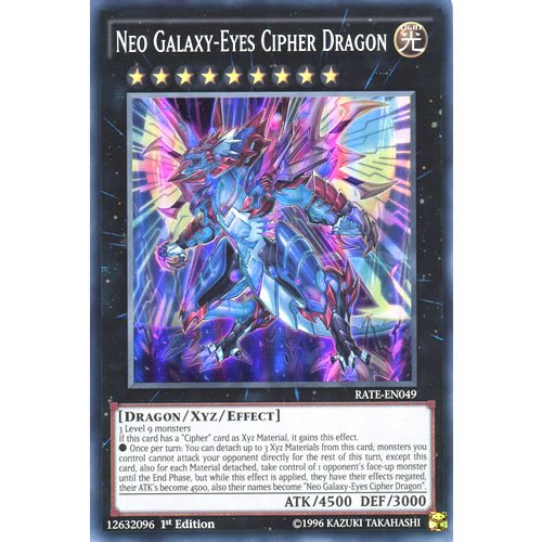 YuGiOh : RATE-EN049 1st Ed Neo Galaxy-Eyes Cipher Dragon Super Rare Card - ( Yu-Gi-Oh! Single Card )