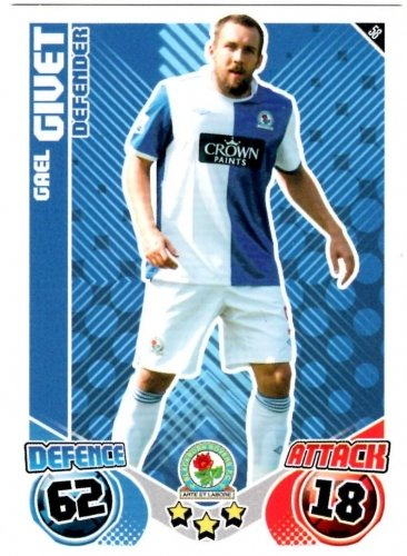 Gael GIVET Blackburn Individual Match Attax 2010/11 Trading Card