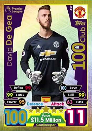 Topps MATCH ATTAX 2017 - DAVID DE GEA 100 CLUB CARD - MANCHESTER UNITED