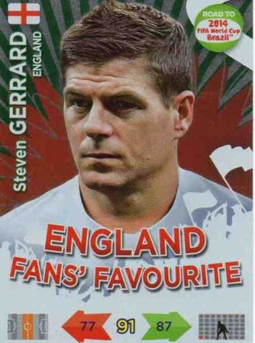 Adrenalyn XL Road To 2014 World Cup Brazil #195 Steven Gerrard Fans Favourite