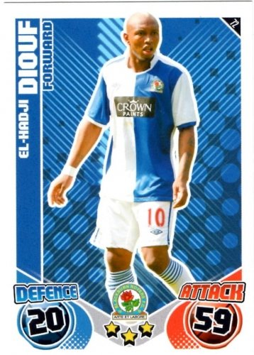 El-Hadji DIOUF Blackburn Individual Match Attax 2010/11 Trading Card