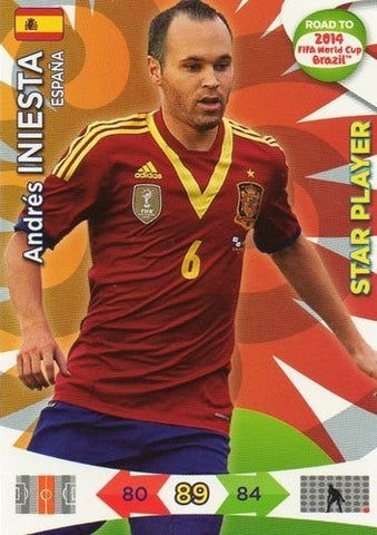 Adrenalyn XL Road To 2014 World Cup Brazil #84 Andres Iniesta Star Player